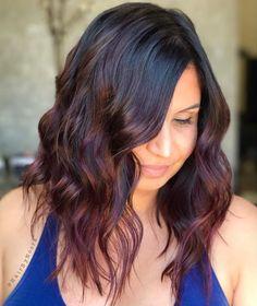 45 Shades of Burgundy Hair: Dark Burgundy, Maroon, Burgundy with Red, Purple and Brown Highlights - - Muted Burgundy Balayage For Black Hair Black Hair Ombre, Best Ombre Hair, Dark Red Hair, Ombre Hair Color, Purple Hair, Red Purple, Maroon Hair, Violet Hair, Red Burgundy