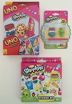 Shopkins Limited Edition Uno Card Game Sticker Kit Erasers Set Shopkins