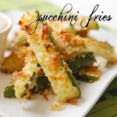 Zucchini fries. Bake at 425 for 20-25 mins. Cut zucchini, dip in a combo of 1/2c milk and 1 beaten egg. Dip into 1/2c parmesan cheese and 1/2c bread crumbs. Bake.