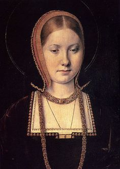 Katherine of Aragon by Michael Sittow, c.1503-04. This painting was done a couple of years after the death of Katherine's first husband Arthur when she was just 18. Arthur was the Prince of Wales and Henry VIII's older brother, and therefore heir to the English throne. However after his death, the succession fell to the infamous Henry and he and Katherine married in 1509 when they were 17 and 23 respectively. In this portrait by Flemish painter Michael Sittow, Katherine is probably shown in…