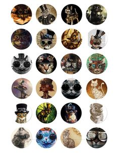Instant Download Steampunk Cat Digital by mixnmatchsupplies