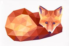 Fox, Red fox print 3, Geometric illustration, Animal print, Original illustration