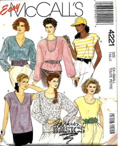 McCall's 4221 Easy Fashion Basics Misses Tops Sewing Pattern, Size XS, UNCUT by DawnsDesignBoutique on Etsy