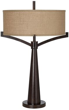Tremont Mid Century Modern Table Lamp Rich Bronze Iron Burlap Fabric Drum Shade for Living Room Family Bedroom Bedside - Franklin Iron Works Iron Table, Burlap Fabric, Drum Shade, Lamp Shades, Bedside, Mid-century Modern, Mid Century, Table Lamp, Bronze