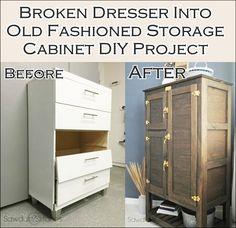 Broken Dresser Into Old Fashioned Storage Cabinet DIY Project