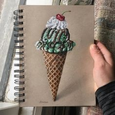 Here's a fun and quick (hour and a half) ice cream cone drawing. Let me know wha… Here's a fun Colored Pencil Artwork, Color Pencil Art, Pencil Art Drawings, Cool Art Drawings, Realistic Drawings, Colorful Drawings, Art Drawings Sketches, Coloured Pencils, Ice Cream Cone Drawing