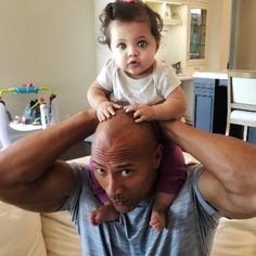 Dwayne Johnson's 11 month old daughter Jasmine with his long time love Lauren Hashian.