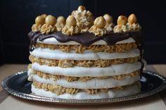 Hazelnut Almond Dacquoise with Espresso Buttercream and Chocolate Ganche #vegan