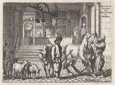 Gerbrand van den Eeckhout | De veearts in een apotheek, Gerbrand van den Eeckhout, 1668 | Een man, veearts, kijkt in de bek van een paard. Daarnaast staat een man met een koe en een herder met vier schapen. Op de achtergrond een interieur van een apotheek. Illustratie uit een boek over het landleven. Op verso lijst met ziektes bij runderen.