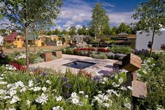 The One Hundred Years From Now show garden at the RHS Hampton Court Palace Flower Show 2014 / RHS Gardening Hampton Court Flower Show, Rhs Hampton Court, Hampton Garden, Chelsea, Evergreen Garden, One Hundred Years, Garden Show, Outdoor Furniture Sets, Outdoor Decor