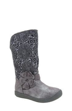 Free shipping and returns on Nina 'Angelyna' Boot (Walker & Toddler) at Nordstrom.com. Twinkling glitter peeks out from the tonal crocheted overlay that details this chic riding boot fashioned with a floral appliqué strap for an adorable finish.