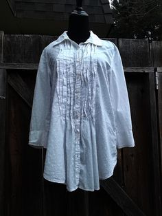 Ladies large white poets blouse  Large by LittleVixensVintage