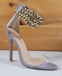 82480a4781c Totally Wicked Footwear · High Heel Shoes · So Me Gray Satin Chain Strap  Stiletto Sandal - 4.5