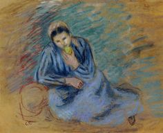 "Camille Pissarro (1830-1903) ~ ""Paysanne Assise croquant unenroll pomme"", 1886 ~ Pastel"