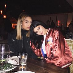 Girls' night: Kylie shared a photo on her Instagram page from inside The Nice Guy, the same venue she celebrated her 18th birthday at last year, which showed the star cuddling up to a pal