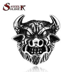 steel soldier The Journey To The Wes style Bull Demon King ring for men punk classic stainless steel jewelry