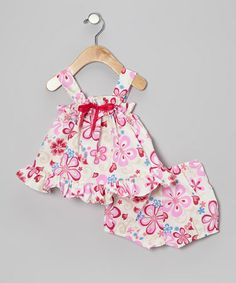 Take a look at this Beige Plumeria Ruffle Bow Dress & Bloomers - Infant by RJC Girls on #zulily today!