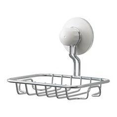 IKEA - IMMELN, Zeepbakje, Met zuignappen die op vlakke oppervlakken kunnen worden bevestigd.Gemaakt van verzinkt staal; slijtvast en roestbestendig.