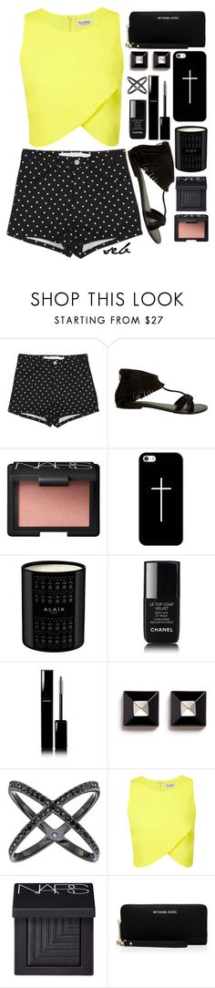 """""""Polka Dot Shorts"""" by coombsie24 ❤ liked on Polyvore featuring Seychelles, NARS Cosmetics, Casetify, Chanel, Givenchy, Michael Kors, Miss Selfridge and MICHAEL Michael Kors"""