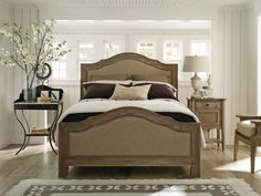 Bedroom, : Classic Meet Vintage Bedroom With Cobblestone Upholstered Bed And Unfinished Wood Bed Platform