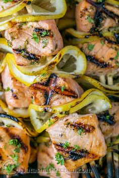 Easy grilled salmon skewers with garlic and dijon. Juicy with incredible flavor and take less than 30 minutes. This salmon kebabs recipe is a keeper! Kebab Recipes, Garlic Recipes, Fish Recipes, Seafood Recipes, Dinner Recipes, Tilapia Recipes, Dinner Ideas, Healthy Grilling, Grilling Recipes