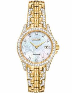 Citizen Ladies Crystal Silhouette Watch - Gold-Tone - Mother of Pearl - Date