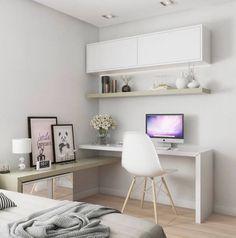 68. Mesa de estudo para quarto pequeno e branco – Por: Tudo Construção #mesadeestudos #mesadeestudosquarto #mesadeestudosquartocriativa