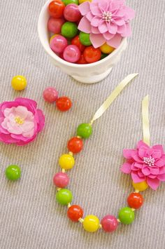 DIY Gumball Necklaces - how cute! But I'd find beads not actual gumballs.