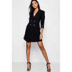 Boohoo Ashley Double Breasted Tailored Blazer Dress (845 CZK) ❤ liked on Polyvore featuring dresses, white dress, white bodycon dresses, maxi dresses, midi dress and white skater dresses