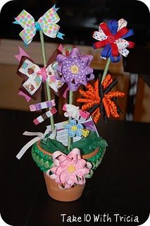 Hair Bow Flower Pot Bouquet- Cute idea to make for school auction 2014 (Family donation).