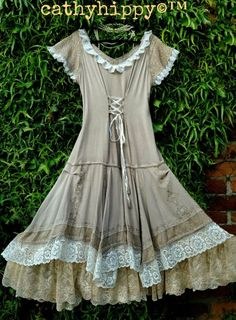 Quirky Bustle Hitch Corset Robe L 16 18 Lagenlook Victorian Gypsy Prairie Arty
