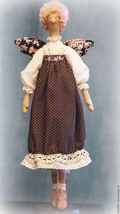 Купить Милуша - комбинированный, тильда, тильда кукла, тильда ангел, текстильная кукла, текстильная игрушка ♡