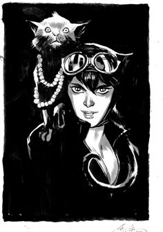 Catwoman and Cat, by Rafael Albuquerque Comic Art