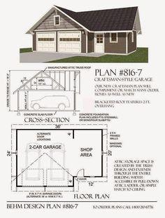 Garage Plans Blog - Behm Design - Garage Plan Examples: Garage Plan 816-7  Craftsman Style 2-Car With Shop...