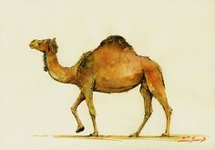 Camel .          Frame and mat not included, just the print. A reproduction of my original painting.    These high quality prints are printed