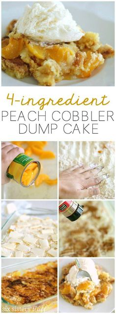 Delicious peach cobbler dump cake that only uses 4 ingredients! | SixSistersStuff.com