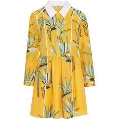 Fendi Cotton-blend jacquard mini dress ($2,165) ❤ liked on Polyvore featuring dresses, fendi, yellow, colorful dresses, short a line dresses, print mini dress, yellow a line dress and print dress