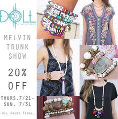 20% OFF @doll_a_boutique until 7/31 !!!  #shop #sale #boutique #bracelets #clt #fashion #boho #shopmelvin #cltstyle #shoplocal #localboutique #charlotte #nc #cltboutique #queencity #locallove #jewelry