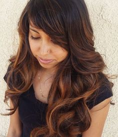long hairstyle with highlights and side bangs