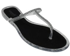 e20938b8e13c Capelli New York Clear Jelly T-Strap Flip Flop With Rhinestones Black Combo