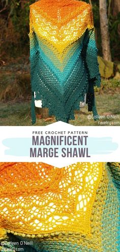 Magnificent Marge Shawl Free Crochet Pattern - Source by sibylleluithle - Crochet Shawls And Wraps, Crochet Poncho, Crochet Scarves, Crochet Clothes, Crochet Baby, Crochet Vests, Crochet Shirt, Knitted Shawls, Ombre Yarn