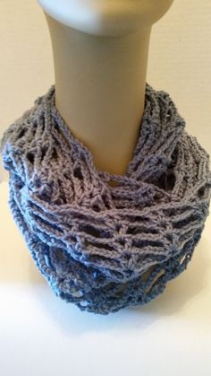 Infinity Cowl Scarf Blue Crocheted by softtotouch on Etsy