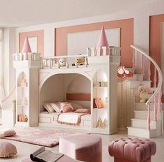 Perfect pastel pink and ivory white little girl's room with a castle bunk bed