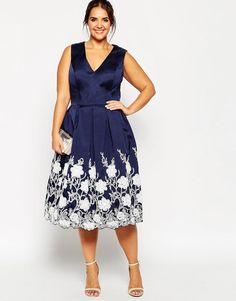 Chi Chi Plus | Chi Chi London Plus Plunge Neck Midi Dress with Embroidered Hem at ASOS