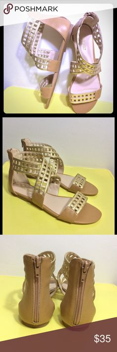 Nine West Gladiator Sandals Size 8.5 New without tag. No box. Gold Tan. Size 8.5 Nine West Shoes Sandals