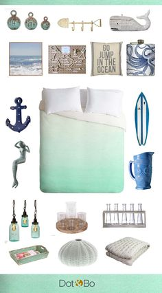 The perfect beach home accessories from Dot & Bo – I ♥ the color scheme of their collage. Soft teals, fresh blues… there are for sure some nice items on their site if you go for a matchy match look.