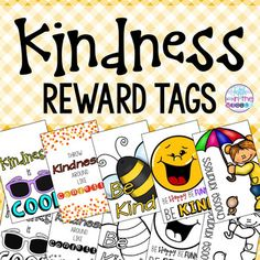 """FREE! Encourage kindness in your classroom with these reward tags. Print them out on cardstock or regular paper, laminate them (if you wish), and cut them out! There is a little circle where you punch a hole to put them on a ball chain. The tags measure 2"""" tall and 1 1/4"""" wide. You could also tie them to a pencil or other small treat as a reward. These brag tags come in color AND blackline versions so you can be as colorful or ink-conscious as you want to be!"""