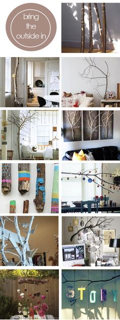 All kinds of ideas for what to do with branches and twigs for indoor decor.