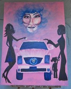 Folk art, outsider art original oil on canvas painting. Looming head of Mary Kay in the sky. Pink Painting, Pink Cadillac, Pink Art, Outsider Art, African Art, Mary Kay, Oil On Canvas, The Outsiders, Folk