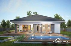 Miriam III - Dobre Domy Flak & Abramowicz Modern House Floor Plans, Modern Bungalow House, Simple House Plans, Beautiful House Plans, Bungalow House Plans, Contemporary House Plans, Village House Design, Kerala House Design, House Front Design